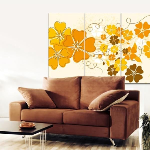 Leinwandbild-mit-gelben-Blumen