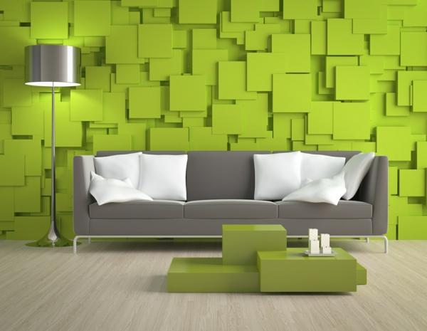 100 ideen für wandgestaltung in grün! - archzine.net - Moderne Wandgestaltung Wohnzimmer
