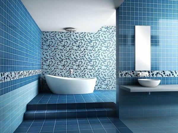 Modernes Bad Fliesen In Blauer Farbe