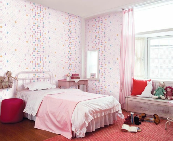 Schlafzimmer Braun Rosa : originelle Wandgestaltung im Schlafzimmer