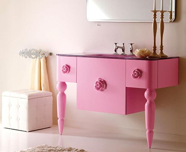 Schlafzimmer-in-Rosa-rosa-Schreibtisch