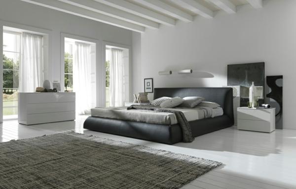 Schlafzimmer modern schwarz weiß  Wohnzimmer Teppich Schwarz Weiß