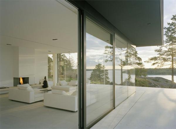 Schweden-super-moderne-Wohnung-Glaswände