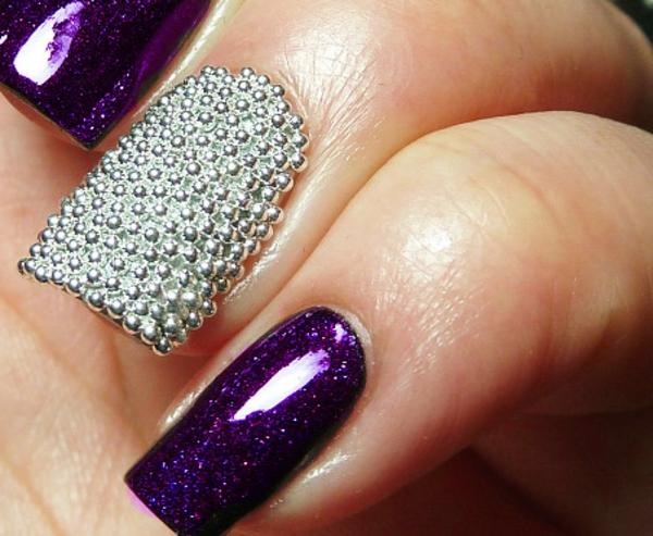 Silver-and-violet-caviar-nail-art