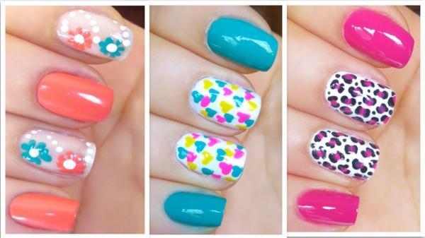 Sommer-Fingernägel-Design-Idee-tolle-Farben