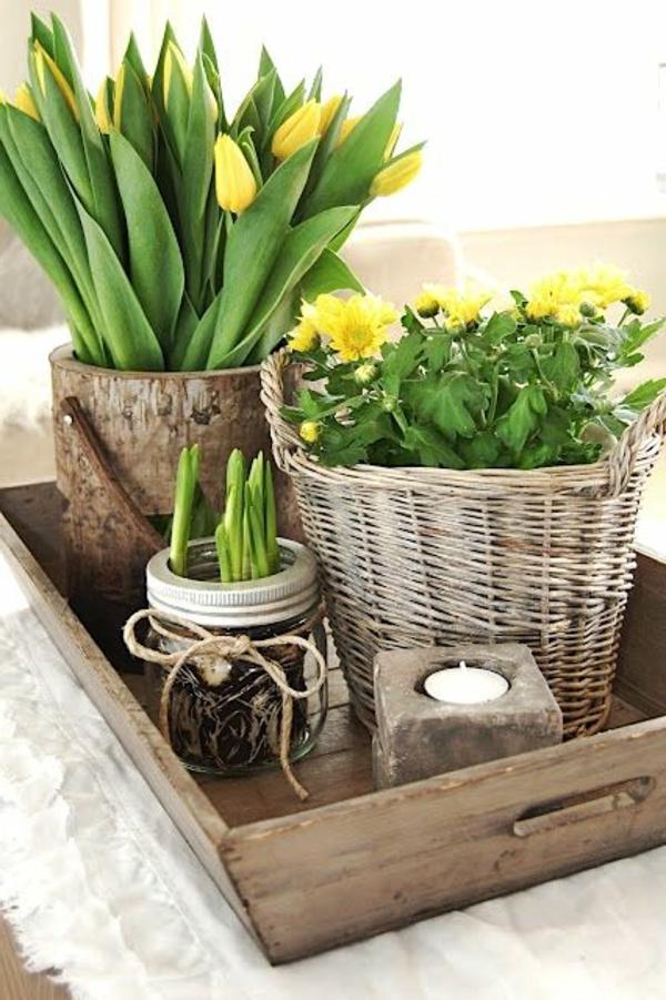 Tischdeko-Tulpen-in-gelber-Farbe