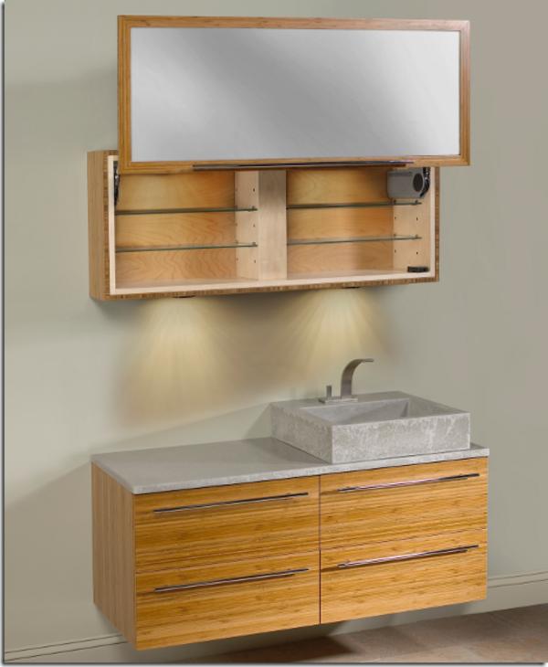 Unterschrank-Bambus-Badezimmer-Design-Idee