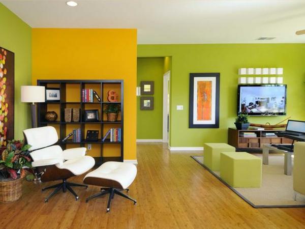 Ideen Wandgestaltung Farbe Grun : coole Wandgestaltung in Grün und Orange