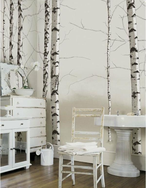 Wandbild-Birke-Idee-für-ein-Vintage-Zimmer-Idee