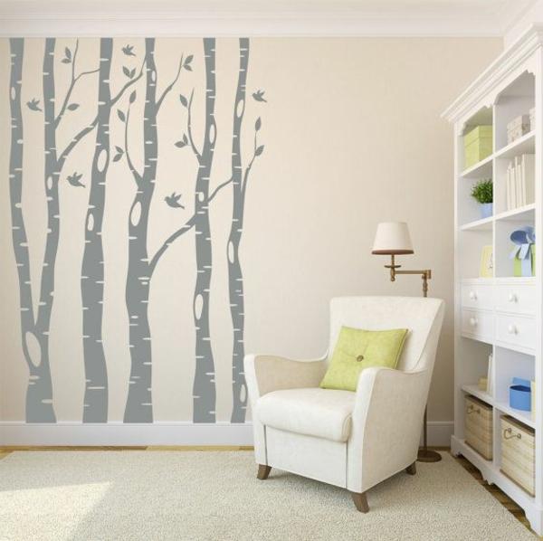 Wandbild-Birken-Zimmergestaltung-
