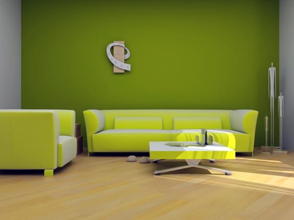 Wandfarbe-Grüntone-Wohnzimmer-Inspiration