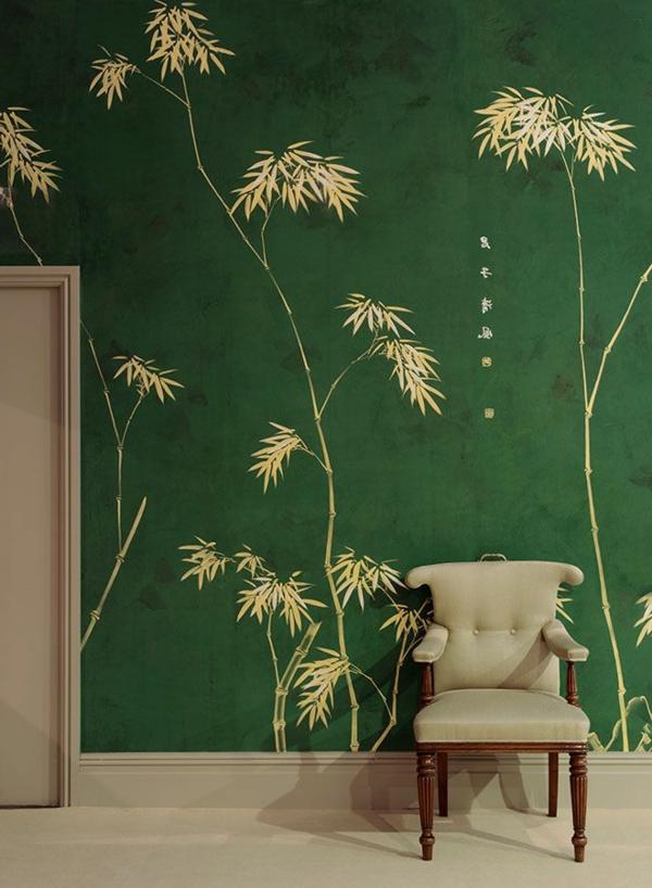 Wandgestaltung-Grün-mit-Blumen