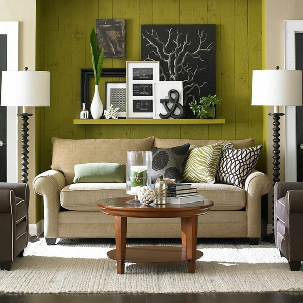 Wandgestaltung-in-Grün-Olivgrün