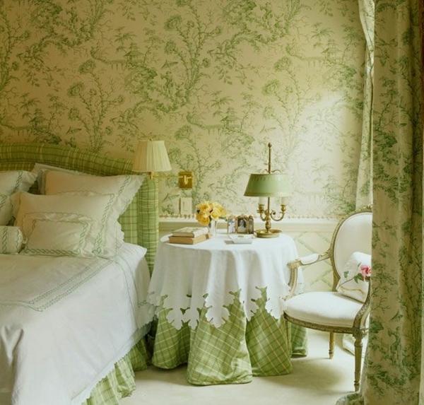 100 ideen f r wandgestaltung in gr n for Wandtapete fur schlafzimmer
