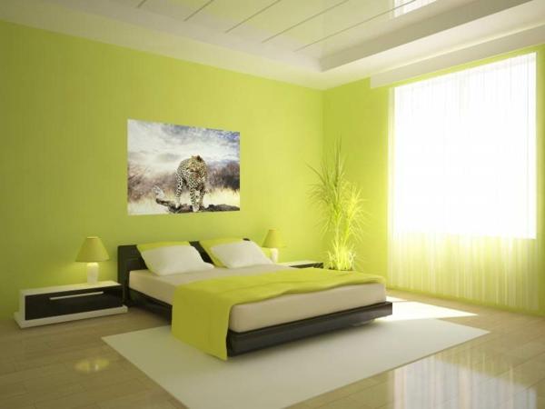 Wandgestaltung-in-grüner-Farbe-Limegrün