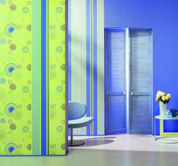 Wandgestaltung-in-grüner-Farbe-und-Blau