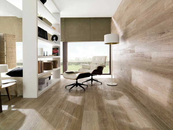 Wohnzimmer Gestaltung Holzoptik Fliesen Helle Farbe