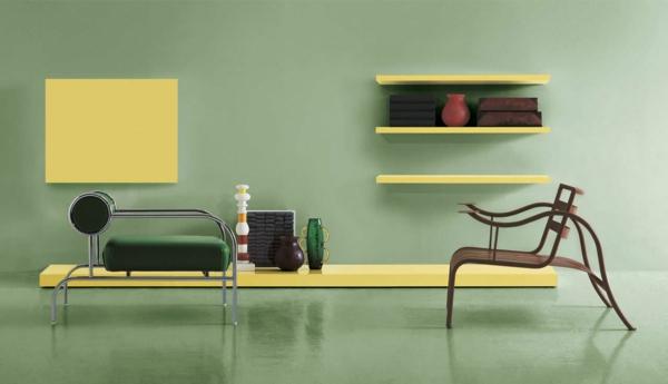 Wohnzimmer-Gestaltung-Wand-.in-Grüntönen