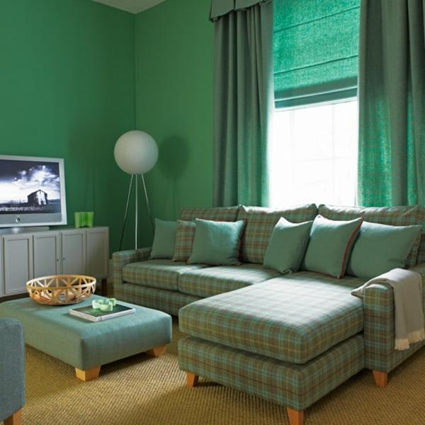 Wohnzimmer farben beispiele grun
