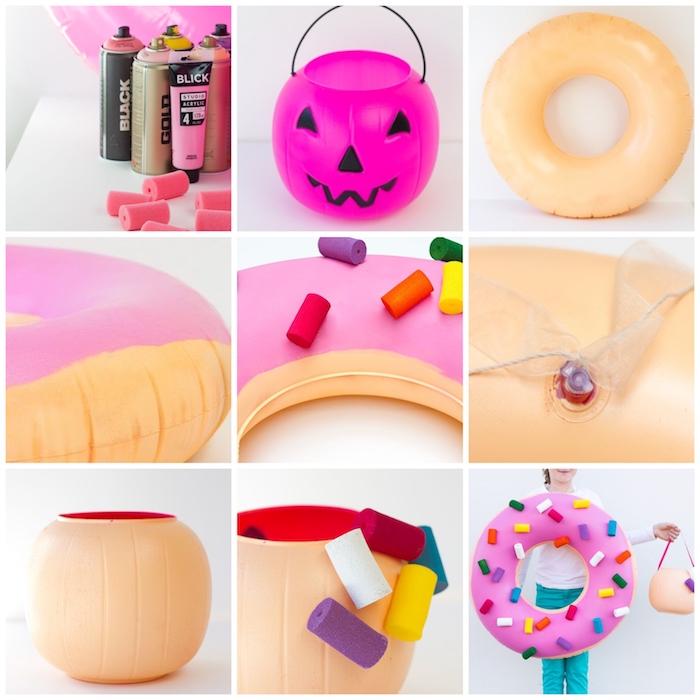 anleitung schritt für schritt einfache halloween kostüme selber machen donut verkleidung mit streuseln