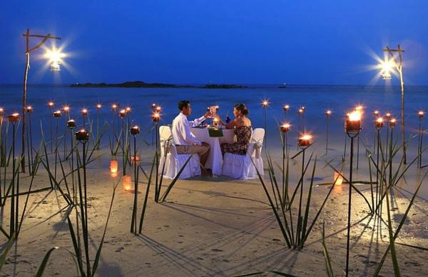 atemberaubende romantische ideen am strand