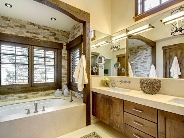 lndliche badezimmer design ideen rustikal interior holz badewanne ... - Bad Landhausstil
