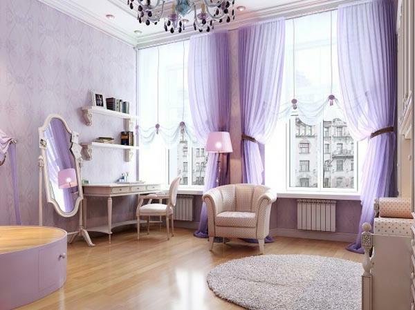 cooles bild wohnzimmer:lila gardinen und ein großer spiegel im eleganten schlafzimmer