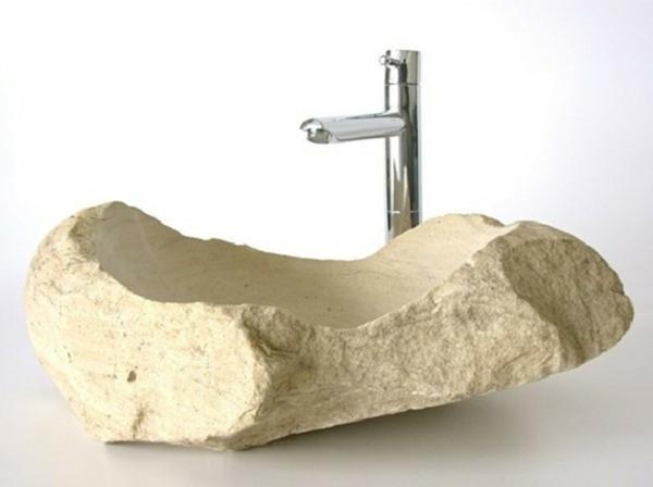 designer-waschbecken-aus-stein - weißer hintergrund