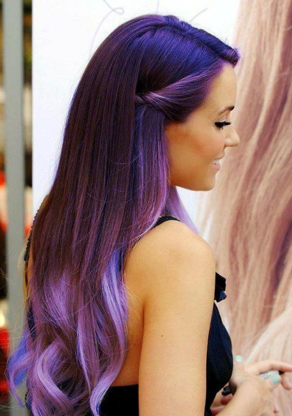 effektvolle-Frisuren-für-Frauen-Ombre-Lila