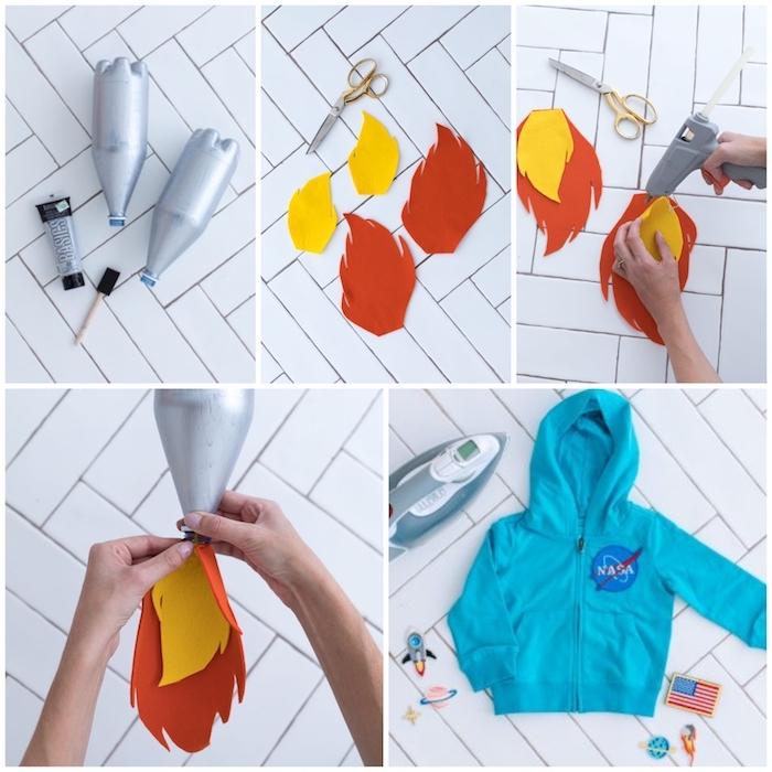 einfache halloween kostüme jungs diy schritt für schritt anleitung basteln mit flaschen upcycling ideen blauer sweatshirt