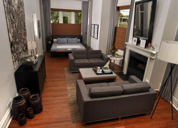 einzimmerwohnung einrichten dunkle ledersofas - 1 Raum Wohnung Einrichtungsideen