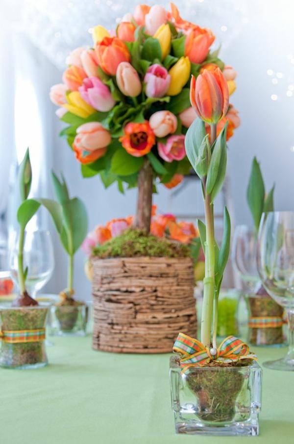 fantastische-Idee-für-eine-Frühlingsdeko-mit-Tulpen-Tischdeko mit Tulpen