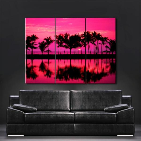 fantastisches-Leinwandbild-in-Rosa-und-Schwarz-Palmen