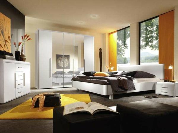 farbgestaltung-für-schlafzimmer-gelbe-akzente