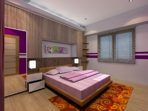 ... : modernes schlafzimmer mit einem rosigen bett und orangem teppich
