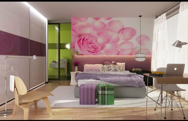 farbgestaltung-für-schlafzimmer-rosige-wand