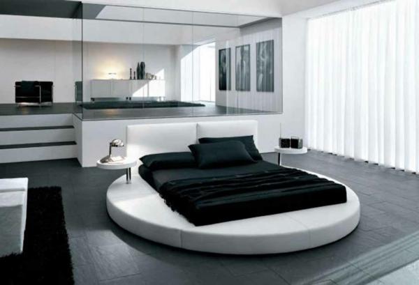 farbgestaltung-für-schlafzimmer-weiß-und-schwarz