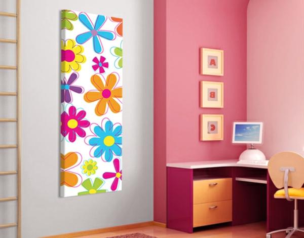 frische-Idee-für-das-Kinderzimmer-Wandbild-mit-Blumen-Idee