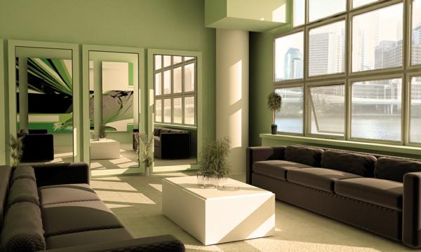 gemütliches-Wohnzimmer-Wandgestaltung-Grün-Sofa