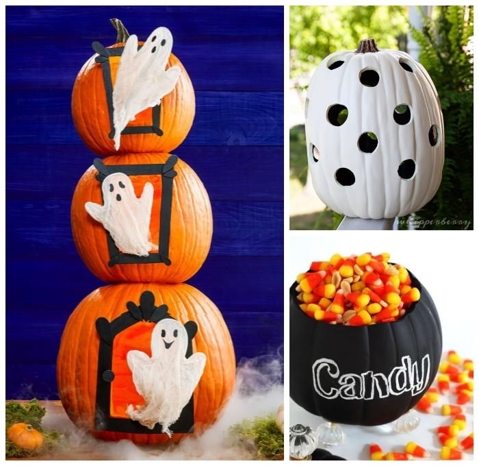geschnitzter kürbis, halloween deko selber machen, candy schüssel, süßigkeiten