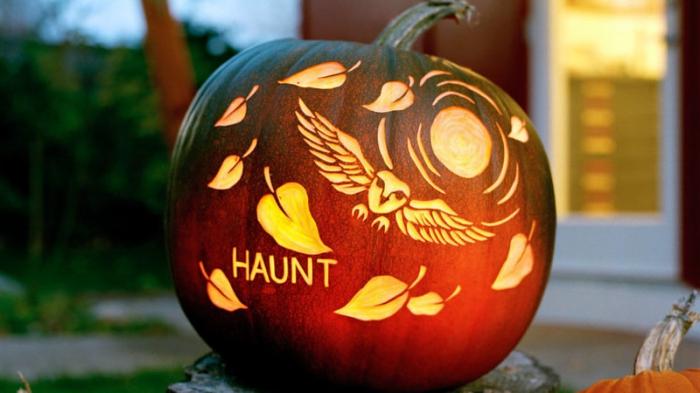 geshcnitzter kürbis, fliegende eule, halloween gartendeko ideen, diy laterne
