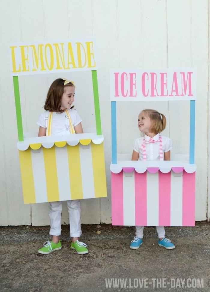 geschwister halloween verkleidung limonade eisstand gelb und pink schritt für schritt anleitung originelle idee kostüme