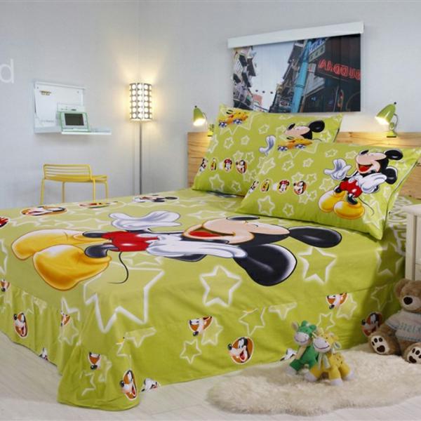 grüne-Bettwäsche-Mickey-Mouse-Kinderzimmergestaltung