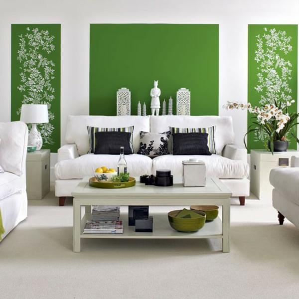 grünes-Wohnzimmer.Wandfarbe-Grüntone-