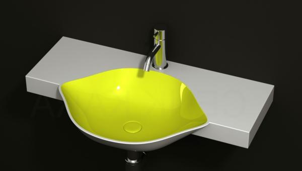 grünes-designer-waschbecken-mit-einem-modernen-look - schwarzer hintergrund