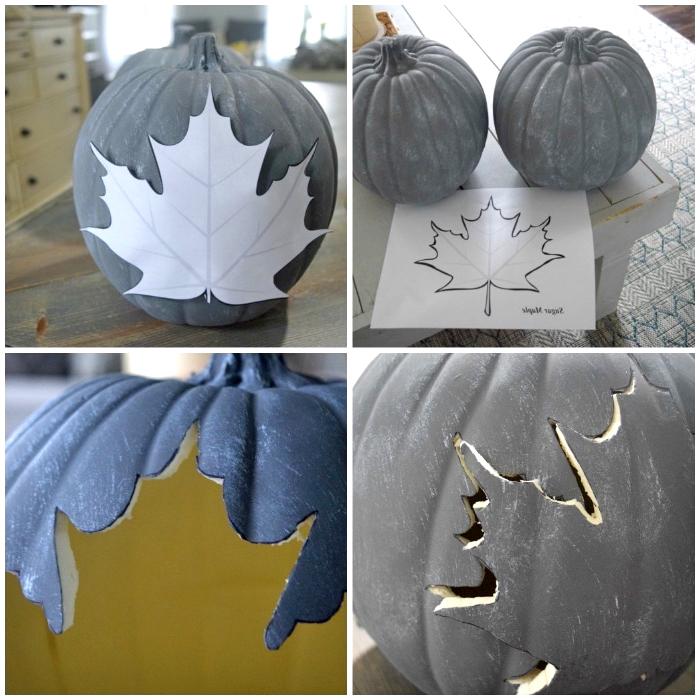 grauer kürbis schnitzen vorlage, laterne machen anleitung, halloween deko, baumblatt