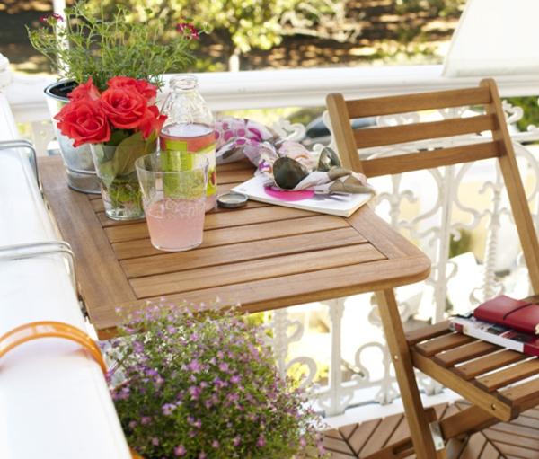Balkon Klapptisch Halbrund Holz : ... Balkonmöbelset mit Klapptisch und Stühlen in Hellblau