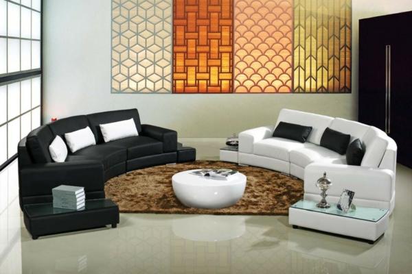 halbrunde-Sofas-schwarz-weiß-idee