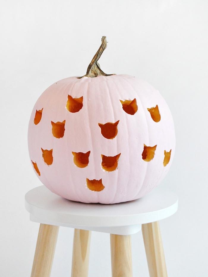 halloween kürbis dekorieren, kleine katzenköpfe, kürbisdeko ideen, rosa farbe