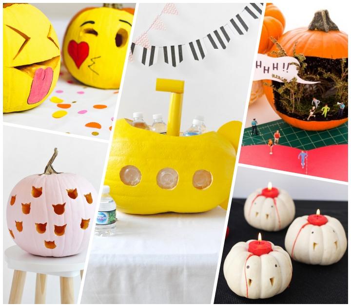 halloween kürbis dekorieren, kürbisdeko ideen, kerzenhalter vampire, gelbes unterseeboot